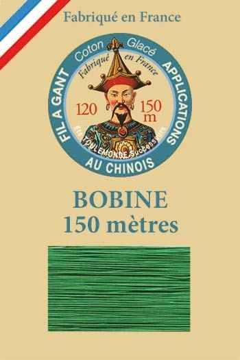 Gloving waxed cotton thread - 150m spool n°866 - Lawn green