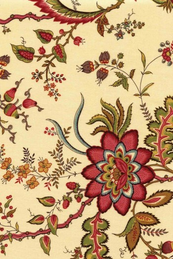 50 x 55cm swatch indienne fabric motif 8 on cream base