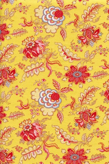 Indienne cotton fabric motif 5 on yellow base 110cm width