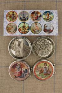 Dressmakers' steel pins - size 4 and 12 - metal tins - assortment