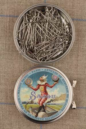 Sajou tightrope walker round box with steel triangular headed pins