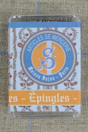 Dressmakers' steel extra fine n°4 pins sky blue floral motif