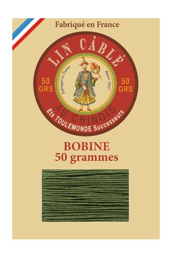 Fil Au Chinois waxed cable linen size 332 133m spool - Colour 735 Chartreuse