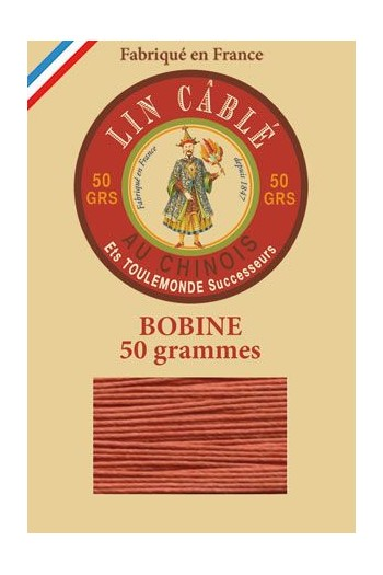 Fil de lin câblé glacé Fil Au Chinois n°432 Bobine 200 m - coloris 420 - Citrouille