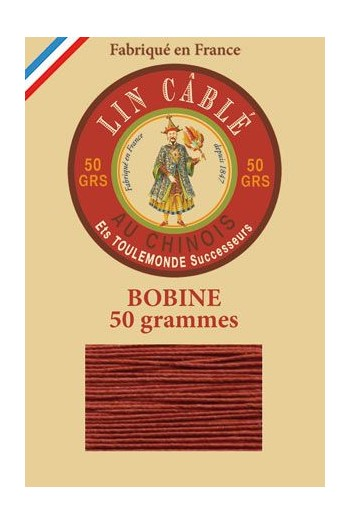 Fil Au Chinois waxed cable linen size 832 375m spool - Colour 333 - Copper