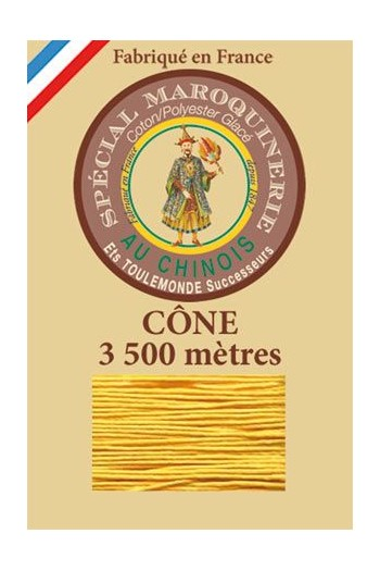 Fil Au Chinois leatherwork polycotton thread size 28/2 - 3 500m cone - Col. 508 Yellow