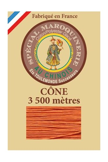 Fil Au Chinois leatherwork polycotton thread size 28/2 - 3 500m cone - Col. 419 Orange