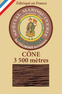 Fil Au Chinois leatherwork polycotton thread size 28/2 - 3 500m cone - Col. 276 Brown