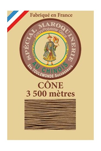 Fil Au Chinois leatherwork polycotton thread size 28/2 - 3 500m cone - Col. 185 Beige