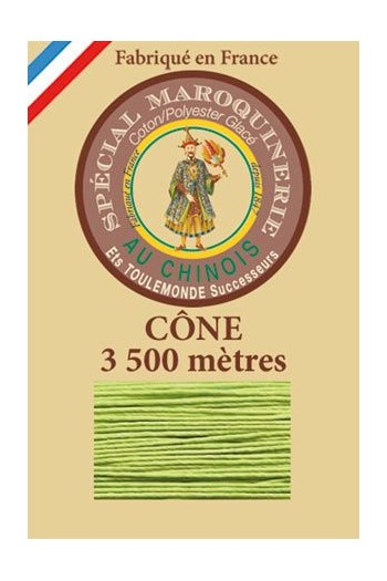 Fil Au Chinois leatherwork polycotton thread size 28/2 - 3 500m cone - Col. 455 Light green