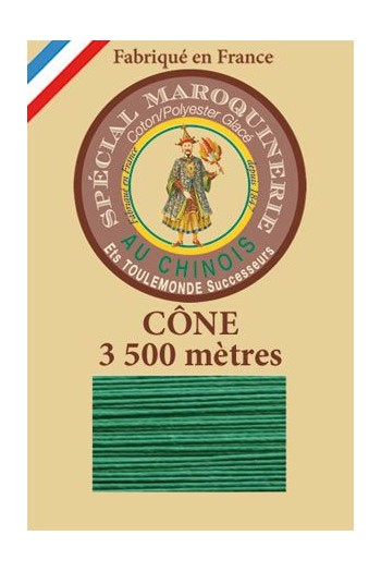 Fil Au Chinois leatherwork polycotton thread size 28/2 - 3 500m cone - Col. 436 Lawn green