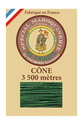 Fil Au Chinois leatherwork polycotton thread size 28/2 - 3 500m cone - Col. 767 Green