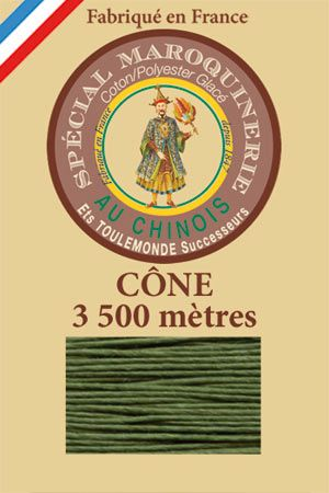 Leather polycotton thread size 28/2 - 3 500m cone - Col. 735 Chartreuse