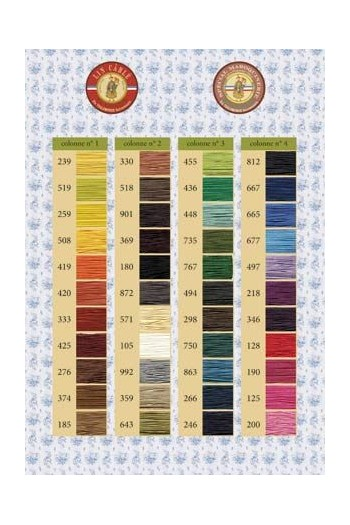 Fil Au Chinois Waxed Cable Linen thread printed colour chart