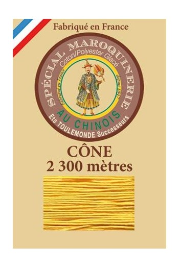 Fil Au Chinois leatherwork polycotton thread size 28/3 - 2 300m cone - Col. 508 Yellow