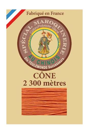 Fil Au Chinois leatherwork polycotton thread size 28/3 - 2 300m cone - Col. 419 Orange