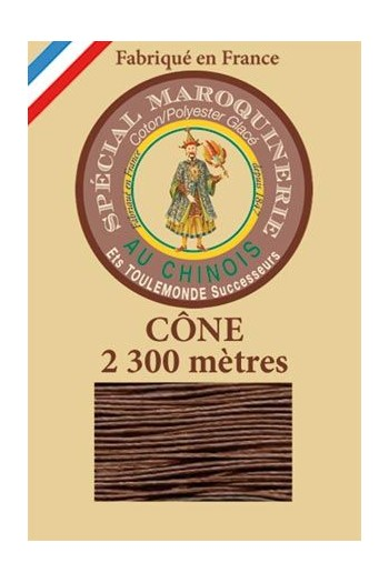 Fil Au Chinois leatherwork polycotton thread size 28/3 - 2 300m cone - Col. 276 Brown