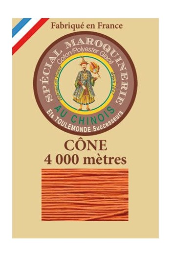 Fil Au Chinois leatherwork polycotton thread size 50/3 - 4 000m cone - Col. 419 Oranger