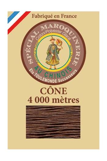 Fil Au Chinois leatherwork polycotton thread size 50/3 - 4 000m cone - Col. 276 Brown