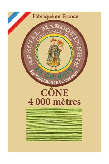 Fil Au Chinois leatherwork polycotton thread size 50/3 - 4 000m cone - Col. 455 Light green