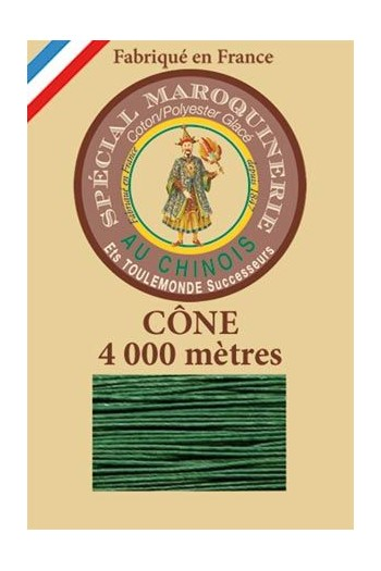 Fil Au Chinois leatherwork polycotton thread size 50/3 - 4 000m cone - Col. 767 Green