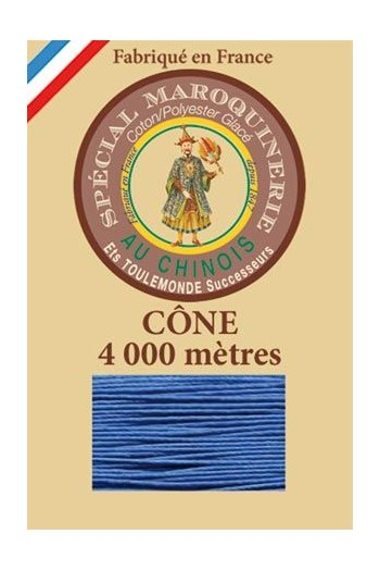Fil Au Chinois leatherwork polycotton thread size 50/3 - 4 000m cone - Col. 665 Royal blue
