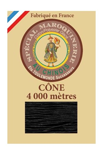 Fil Au Chinois leatherwork polycotton thread size 50/3 - 4 000m cone - Col. 180 Black
