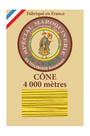 Fil Au Chinois leatherwork polycotton thread size 50/3 - 4 000m cone - Col. 259 Sunshine