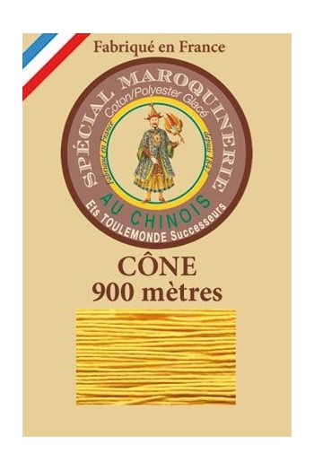 Fil Au Chinois leatherwork polycotton thread size 28/2 - 900m cone - Col. 508 Yellow