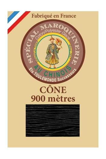 Fil Au Chinois leatherwork polycotton thread size 28/2 - 900m cone - Col. 180 Black