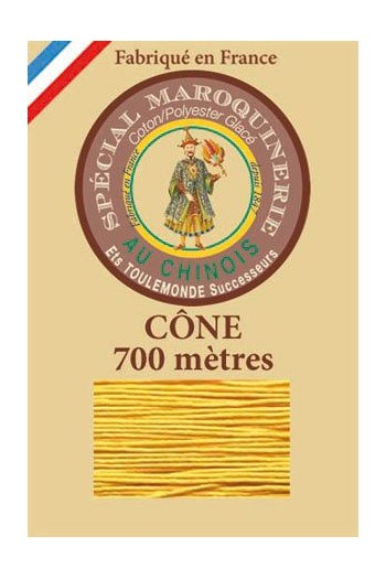 Fil Au Chinois leatherwork polycotton thread size 28/3 - 700m cone - Col. 508 Yellow