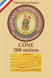 Fil Au Chinois leatherwork polycotton thread size 28/4 - 500m cone - Col. 508 Yellow
