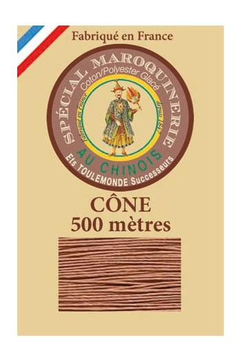 Fil Au Chinois leatherwork polycotton thread size 28/4 - 500m cone - Col. 330 Fawn