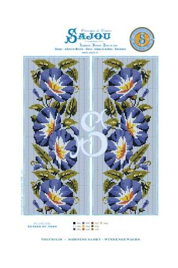 Cross stitch pattern chart reedition flower motif Morning Glory