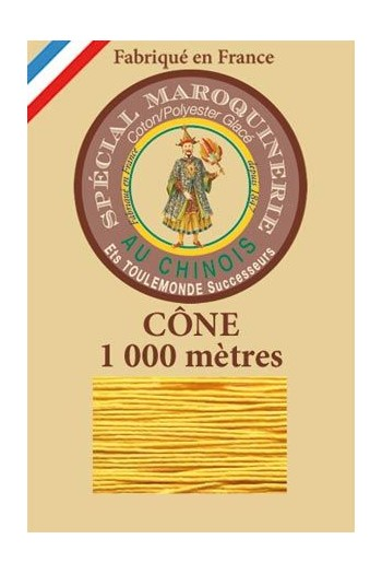 Fil Au Chinois leatherwork polycotton thread size 50/3 - 1 000m cone - Col. 508 Yellow
