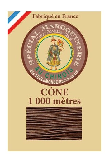 Fil Au Chinois leatherwork polycotton thread size 50/3 - 1 000m cone - Col. 276 Brown