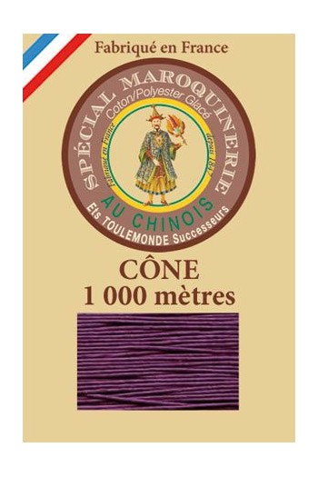 Fil Au Chinois leatherwork polycotton thread size 50/3 - 1 000m cone - Col. 218 Violet