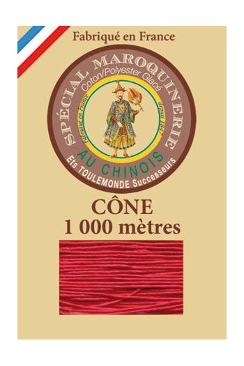 Fil Au Chinois leatherwork polycotton thread size 50/3 - 1 000m cone - Col. 128 Red