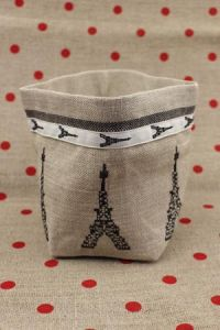 Cross stitch embroidery kit - Black Eiffel Tower linen pot