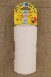 N°8 white cotton yarn for boutis patchwork Lebaufil brand
