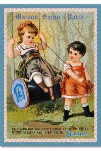 Sajou children playground swing postcard