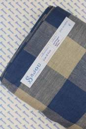 12 count/cm embroidery linen width 180cm - natural and blue squares