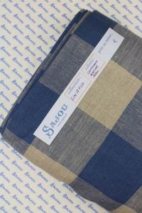 Sajou 12 count embroidery linen 180cm wide - blue and natural squares