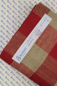 Sajou 12 count embroidery linen 180cm wide - red and natural squares
