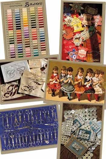 Six cartes postales Sajou sur la mercerie ancienne série 500