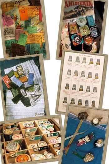 Six cartes postales Sajou sur la mercerie ancienne série 503