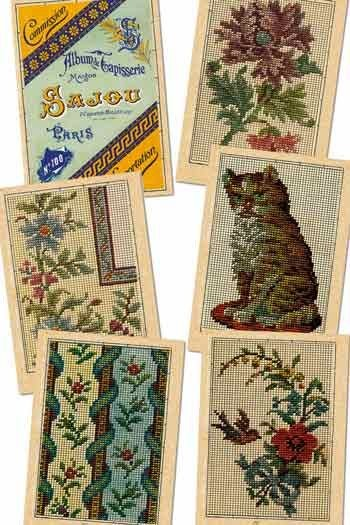 Six Sajou postcards vintage tapestry petit point Series 100