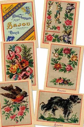 Six Sajou postcards vintage tapestry petit point Series 101