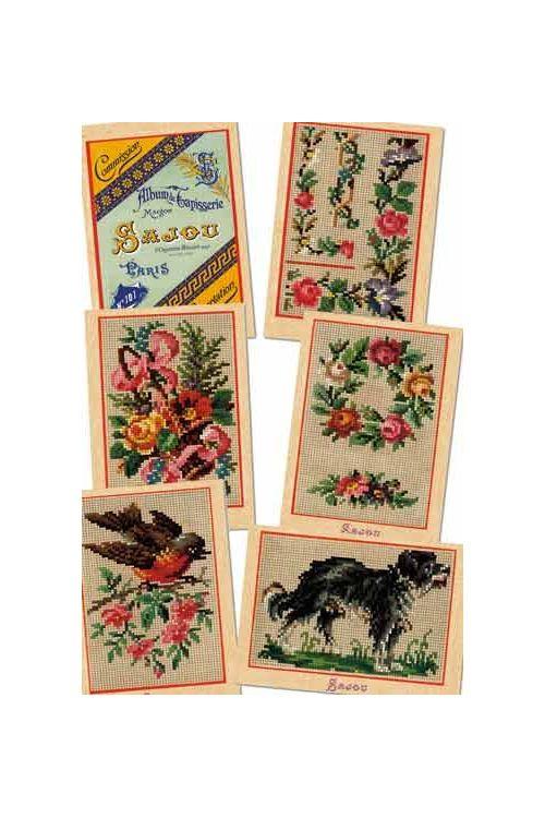 Six Sajou postcards vintage tapestry petit point Series 101