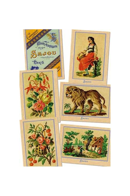 Six Sajou postcards vintage tapestry petit point Series 102